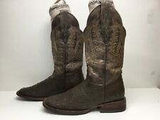 Vtg Mens Unbranded Square Toe Cowboy Ostrich Skin Brown Boots Size 7