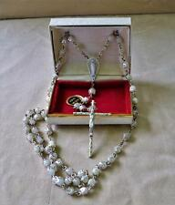"NIB Creed Sterling rosary Sterling capped faux pearls and Sterling 2"" Crusifix"
