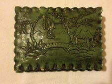 Vtg Syroco Wood Asian StyleTrinket Jewelry Box Gazeebo Foot-Bridge Sailboat