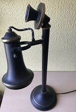 Candlestick Pedestal Black Telephone Table Lamp Antique Style Replica