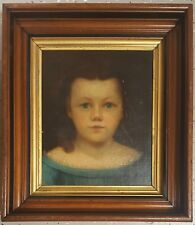 ANTIQUE AMERICAN FOLK ART 1850s NYC ORIGIN LITTLE GIRL PAINTING BABY ROOM DECOR