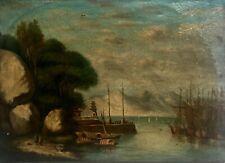 Tableau ancien, Huile sur toile, Port oriental animé, Marine, XIXe