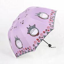 Anti UV Sun Rain Umbrella Totoro Manual Open Parasol Windproof 8 Ribs 3 Folding