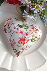 toller Vintage Anhänger Blumen Herz 10cm weiß bunt Shabby Hochzeit Landhaus