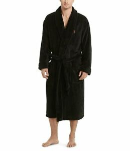 NWT POLO RALPH LAUREN Men's Big Pony Plush Bath Robe Black S/M