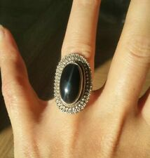 Brand New Quality Solid Sterling Silver Large Black Onyx Ring Size L