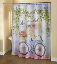 Life is a Beautiful Ride Vintage Bicycle Bathroom Shower Curtain