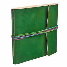 Fair Trade Handmade 3 String Green Leather Photo Album Scrapbook
