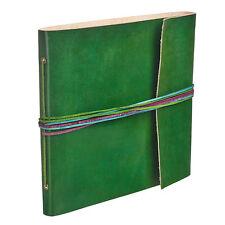 Fair Trade Handmade 3 String Green Leather Photo Album 2nd Quality