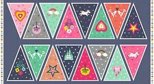 FANTASY Bunting Panel Cotton fabric Makower Size 110cm x 60cm larger available