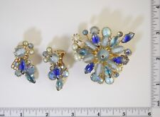 Vintage RHINESTONE PIN EARRING SET BLUE & PEARLS GORGEOUS UNSIGNED #001