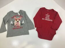 The Children's Place Boys Toddler Lot Of 2 Longsleeve Grahic Tees 18-24M NWT@