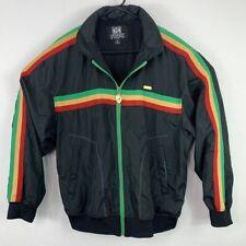 Avirex Reggae Rasta Music Striped Full Zip Jacket Retractable Hoodie Mens Large