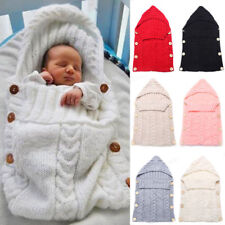 Newborn Baby Toddle Cable Knit Blanket Swaddle Wrap Swaddling Warm Sleeping Bags