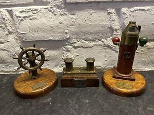 Vintage Nautical Brass Ornaments Set Of 3 HMS Ocean, Vanguard, Farndale
