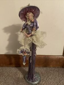 2004 Popular Creations Victorian Purple Tassel Doll W/ Parasol Body Porcelain