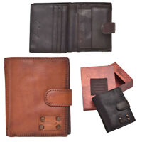 Mens Large Genuine Vintage Crinkle Leather Organiser Wallet Coin Holder Tan