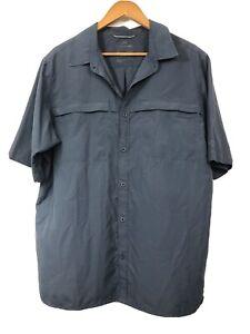 Kathmandu Button Up Shirt XL Mens Grey Short Sleeve Pockets Quickdry Relaxed Fit