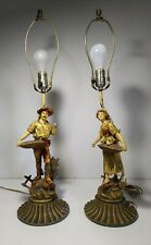 Antique Pair of Spelter French Peasant Figurines (Couple Man/Woman) Lamps
