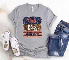 God Bless America Leopard Flag Vintage Women T Shirt S-5XL Sport Grey