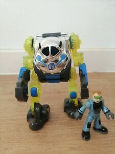 Imaginext Exo Suit Yellow Blue Silver with Figure Scientist Doc Rare