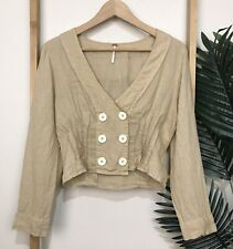 Free People Beige Linen Top Size S Long Sleeve Crop V Neck Button Casual Womens