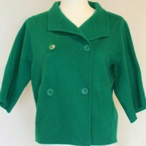 Talbots womens cropped peacoat size 2 wool blend bright green buttons short