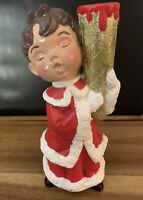 Vintage JAPAN ?Handpainted Boy Figurine Christmas Caroler Candle Holder Ceramic
