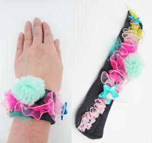 ❤️ Handmade ❤️ Pastel Pom pom Lace Fabric Bracelet *Harajuku Lolita Kawaii*