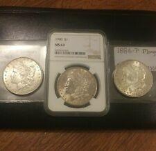 3 Morgan Silver Dollars Hi Grade Coin Lot NGC MS 63 1900 + Raw 1879 & 1886 CPics