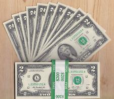 10 - $2 TWO DOLLAR BILLS $2 Crisp Uncirculated Consecutive 2013 San Francisco