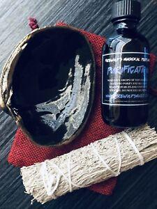 Cleansing Kit (Sage Bundle, Sea Shell Burner, Purification Perfume) Witchcraft