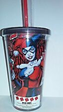 DC COMICS HARLEY QUINN  3D ICE CUBES 16 OZ ACRYLIC TUMBLER CUP WITH STRAW