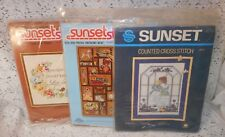 Lot of 3 Vintage Sunset Stitchery Kits: MY MOTHER, LIVE FOR TODAY, BITS AND PIEC