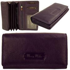 Damen Geldbörse Portemonnaie   Portmonee Leder Narbentextur Lila-Purple a5184