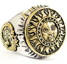 THE SUN & OUROBOROS ON WHEEL OF FORTUNE TAROT STERLING 925 SILVER RING Sz 9