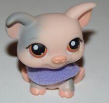 Littlest Pet Shop LPS #259 Peach Pink Gray Grey Pig Brown Tan Eyes Purple Scarf