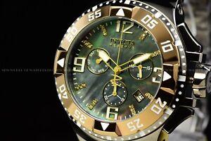 Invicta 50mm Excursion Swiss Chrono Khaki Titanium Tone Diamond Accent SS Watch