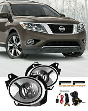 For 2013-2016 Nissan Pathfinder Chrome Trim Clear Lens Fog Light Complete Kit