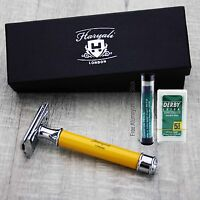 Haryali London Classic Handle De Safety Razor +double edge shaving blades shaver