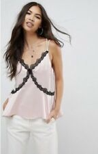 Ladies ASOS Pink Nude Satin Cami Lace Edging Strappy Size 10