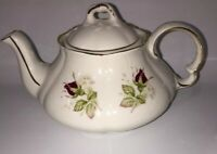 Vintage Ellgreave England Red Rose Luster Ware Tea Pot Gold Accents Beautiful