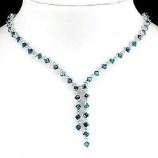Silver 925 Genuine Square Faceted London Blue Topaz Necklace & Drop 18.5 Inch