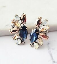 Rose gold champagne & blue marquise crystal cocktail fashion statement earrings