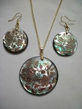 NATURAL ABALONE MOP SHELL GOLD FOIL  FLOWER PENDANT EARRING SET NECKLACE 45mm