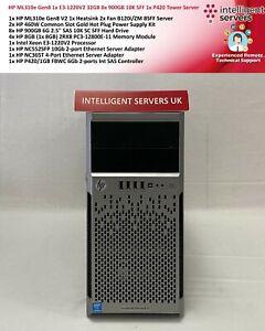 HP ML310e Gen8 1x E3-1220V2 32GB 8x 900GB 10K SFF 1x P420 Tower Server