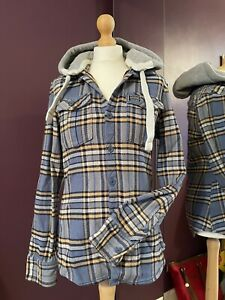 Superdry Checked Hoodie Top Shacket Fit Size 10