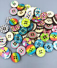 Retro Mixed Colour 4-holes Round Wooden buttons sewing scrapbooking 20mm