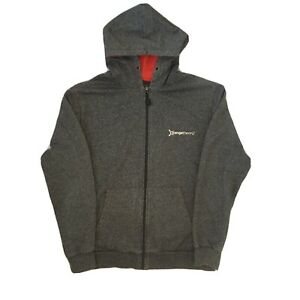 Orange Theory Adult Mens L Full Zip Heather Gray/ Red Fitness Hoodie Sweatshirt