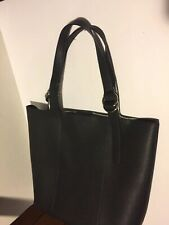 Nine West Black Faux Leather W/silver Hardware Button Close Tote Bag